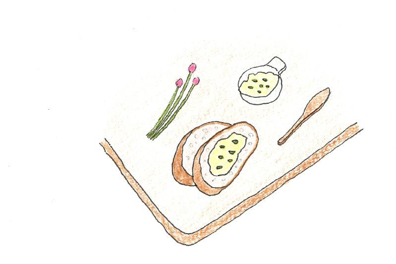 チャイブ料理のイラスト