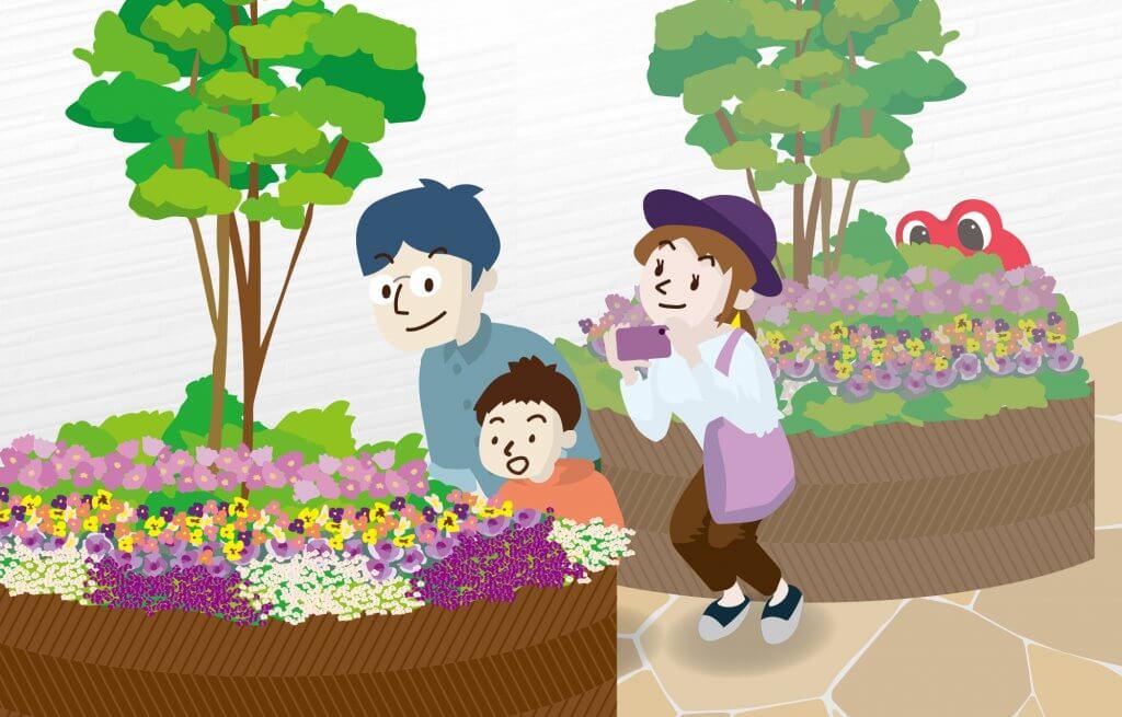 花壇に夢中の花坂さん一家