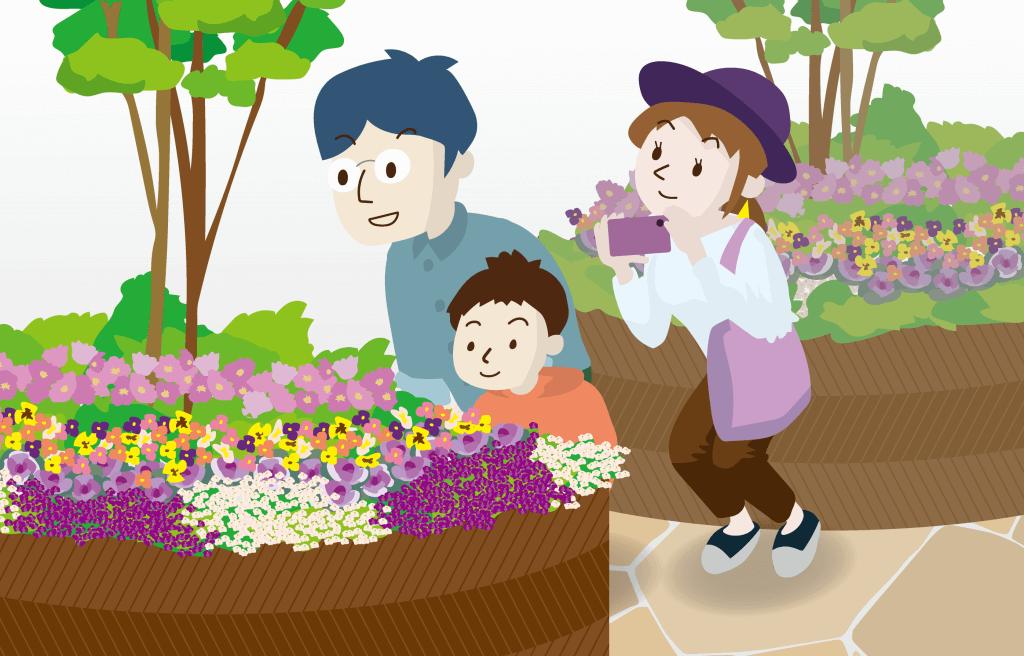 花壇の花を観察する花坂さん一家