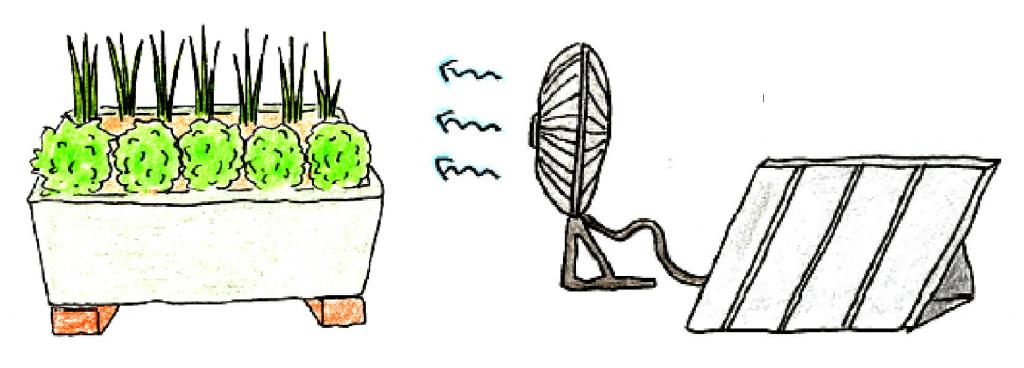 風通しを確保するための工夫(レンガを置く、扇風機を回す)の説明イラスト