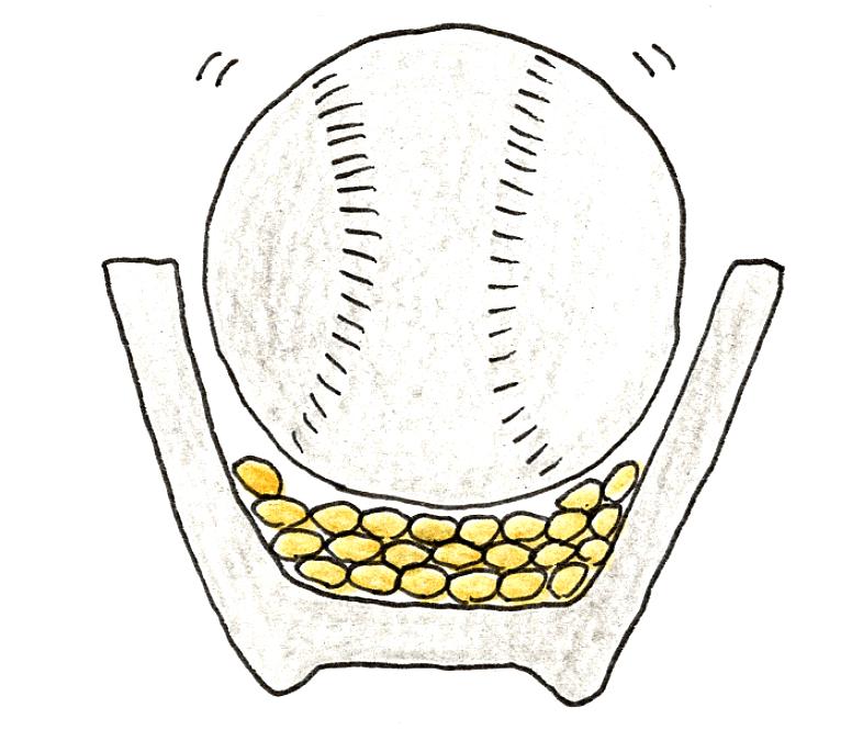 バケツ稲の育て方 ~稲刈りとカンタン脱穀~ 野球ボールを使った脱穀法右方のイラスト1