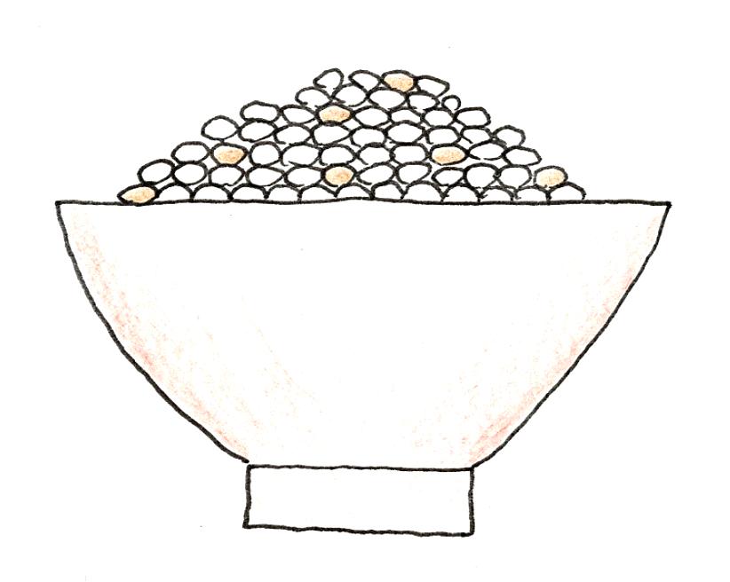 バケツ稲の育て方 ~稲刈りとカンタン脱穀~ 収穫した玄米を混ぜて炊いたごはんのイラスト