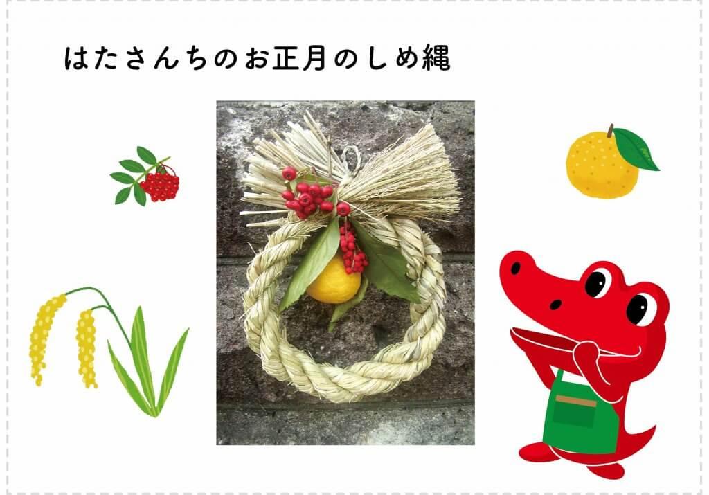 収穫した稲で作ったお正月のしめ縄