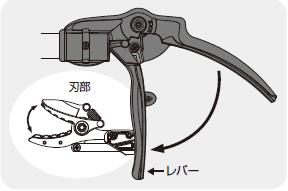 高枝切りばさみの刃部とレバーの連動